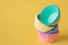 Colourful cupcake cases